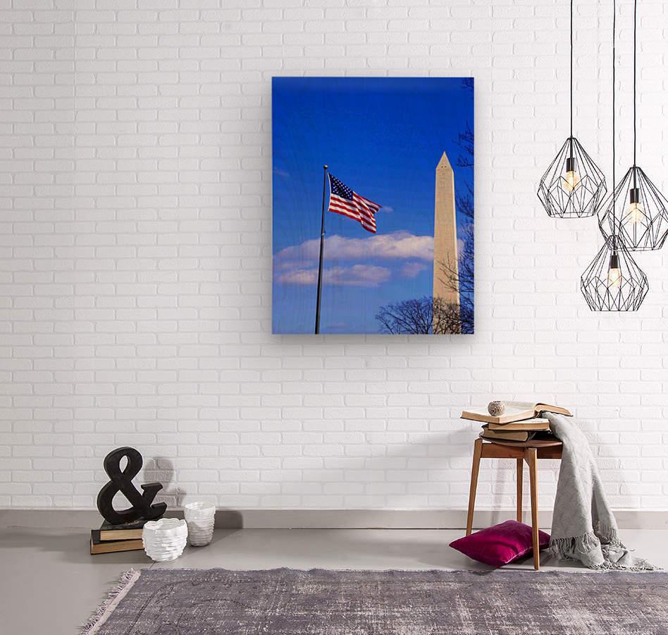 Flag & Washington Monument  Wood print