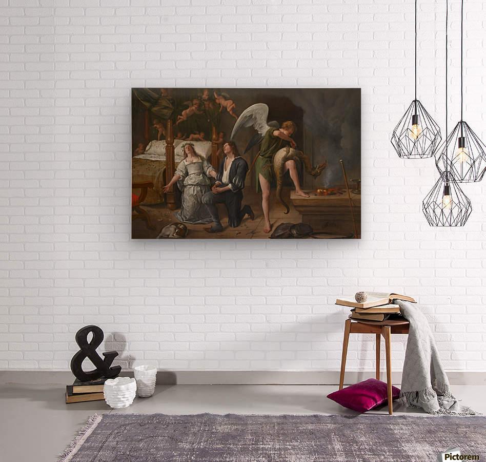 Tobias en Sarah bidden terwijl Rafael bindt de demon  Wood print