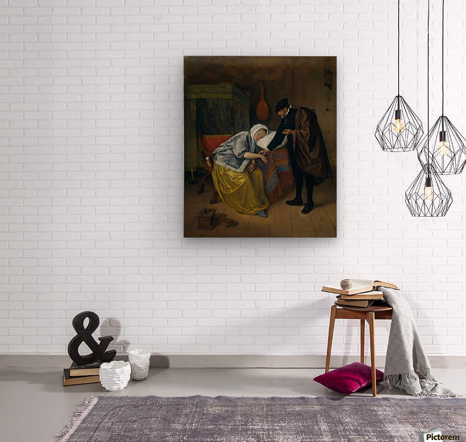 Steen Doctor and His Patient  Wood print