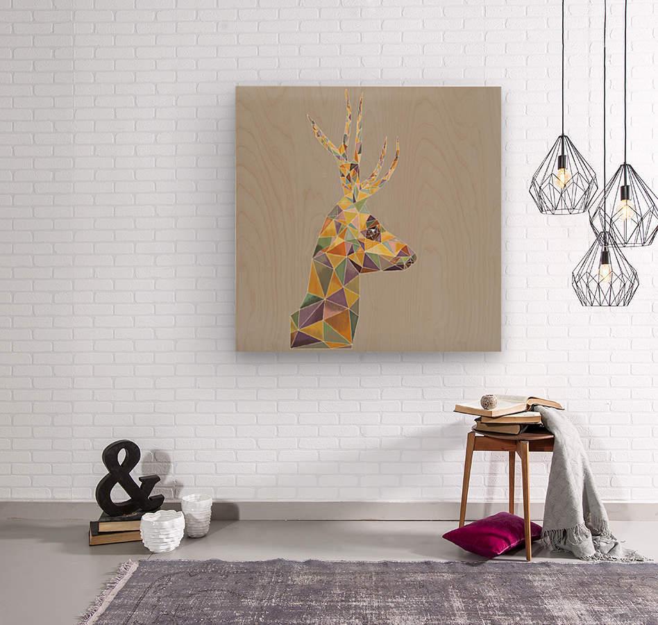 Deer mosaic  Wood print