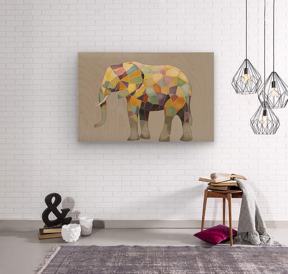 Elephant Mosaic  Wood print