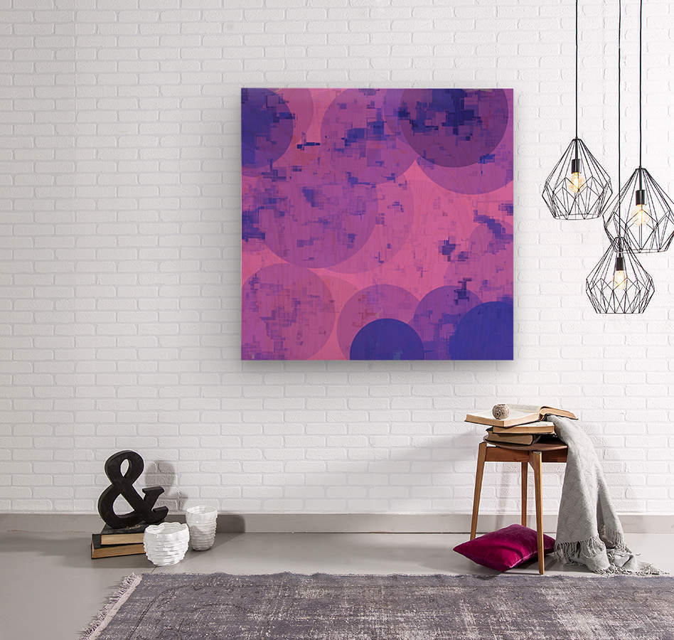 geometric circle and square pattern abstract in pink purple  Wood print