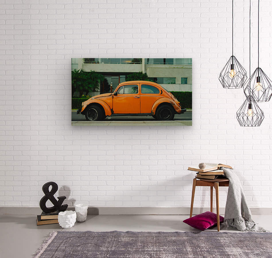 Parked Yellow Coccinelle  Wood print