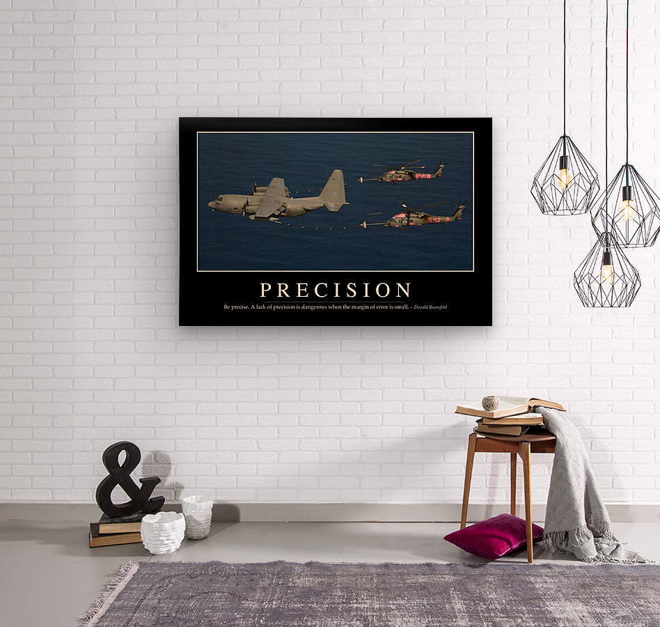 Precision: Inspirational Quote and Motivational Poster  Wood print