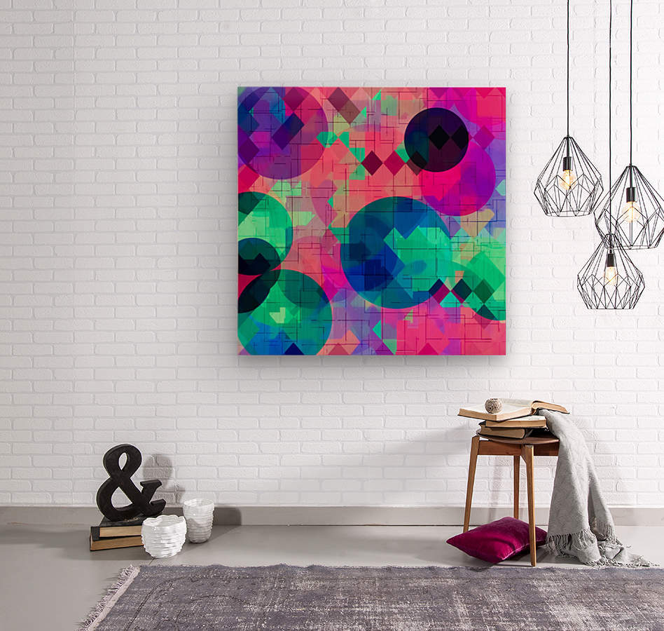 geometric square pixel and circle pattern abstract in pink blue green  Wood print