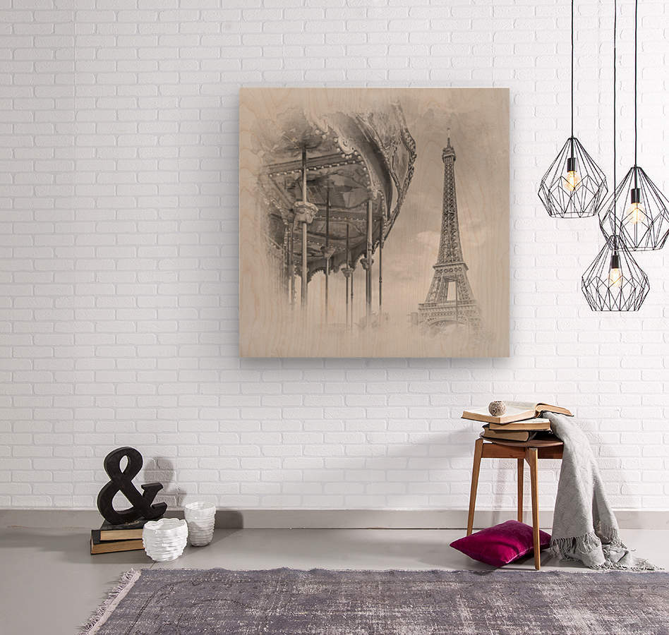 Typical Paris   monochrome watercolor  Wood print