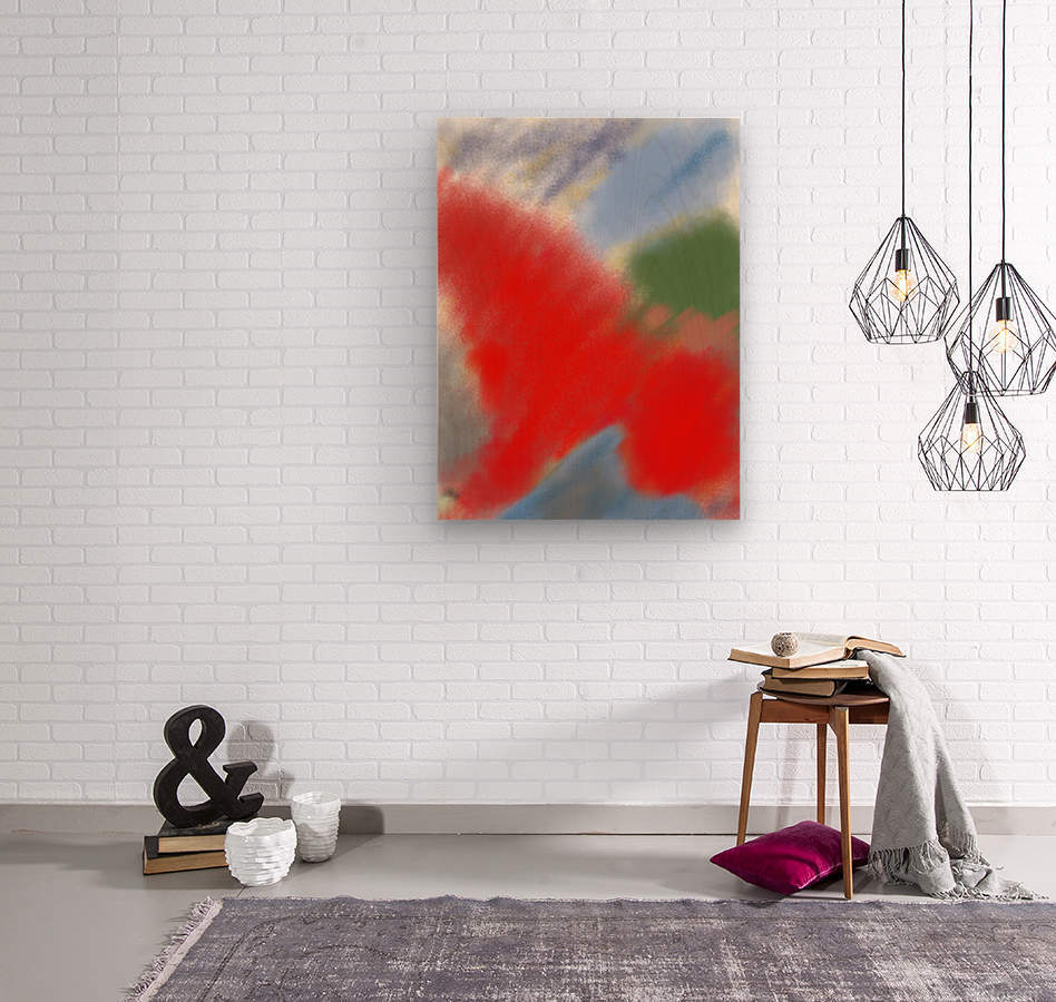 Abstract-red flame  Wood print