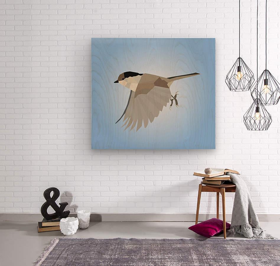 WILLOW TIT BIRD LOW POLY ART  Wood print