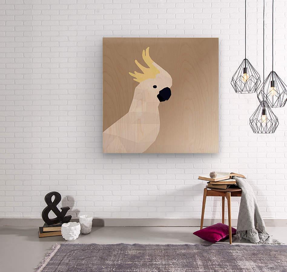 COCKATOO BIRD LOW POLY ART  Wood print