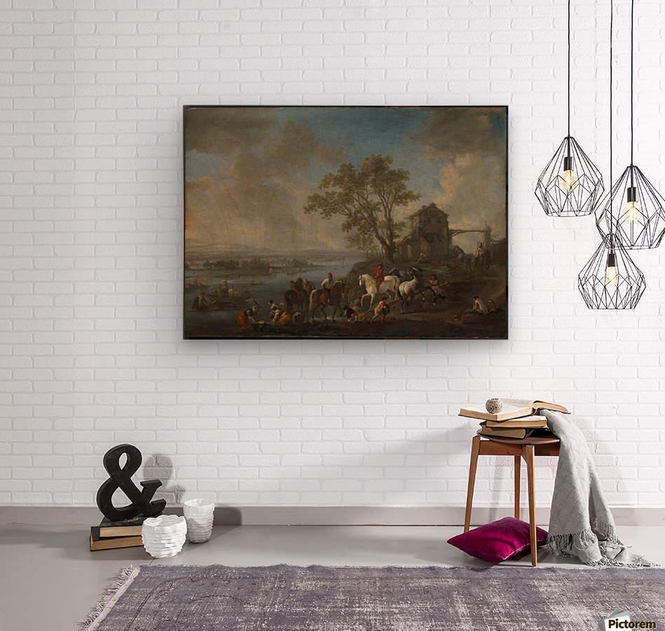 Paardenwed bij een rivier  Wood print