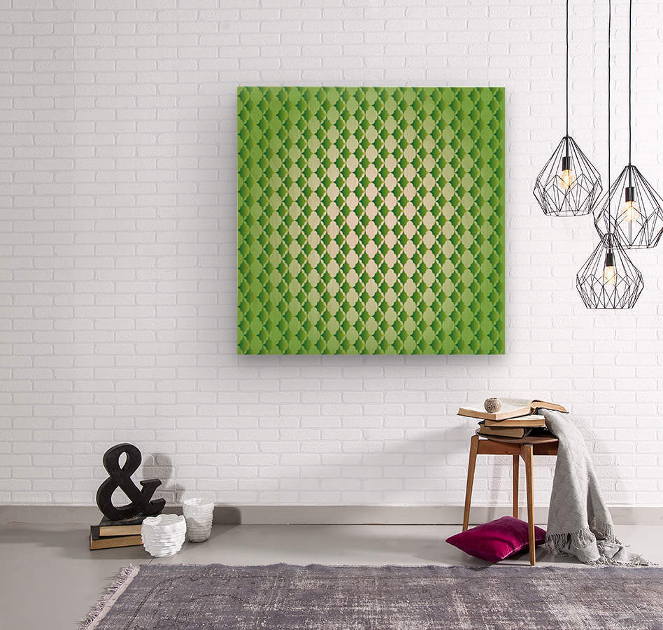 Islamic Art Green Color Artwork  Wood print