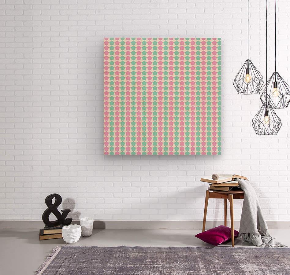 Pink _ Blue Star Seamless Pattern Artwork  Wood print