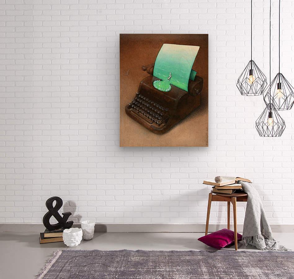 typewriter  Wood print