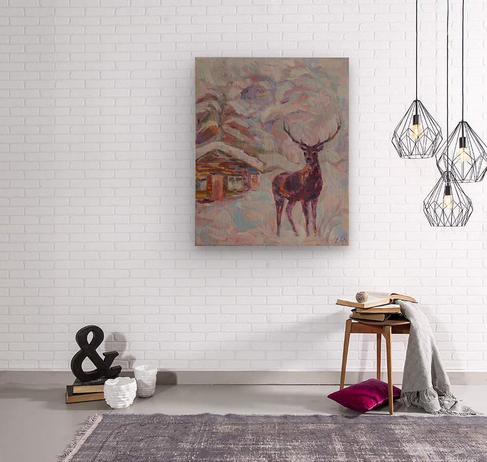Deer and Hut  Wood print
