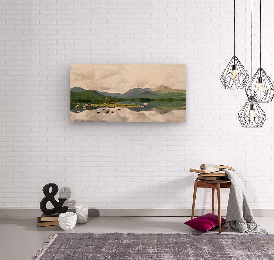 Lac Mirroir de Glencoe  Impression sur bois