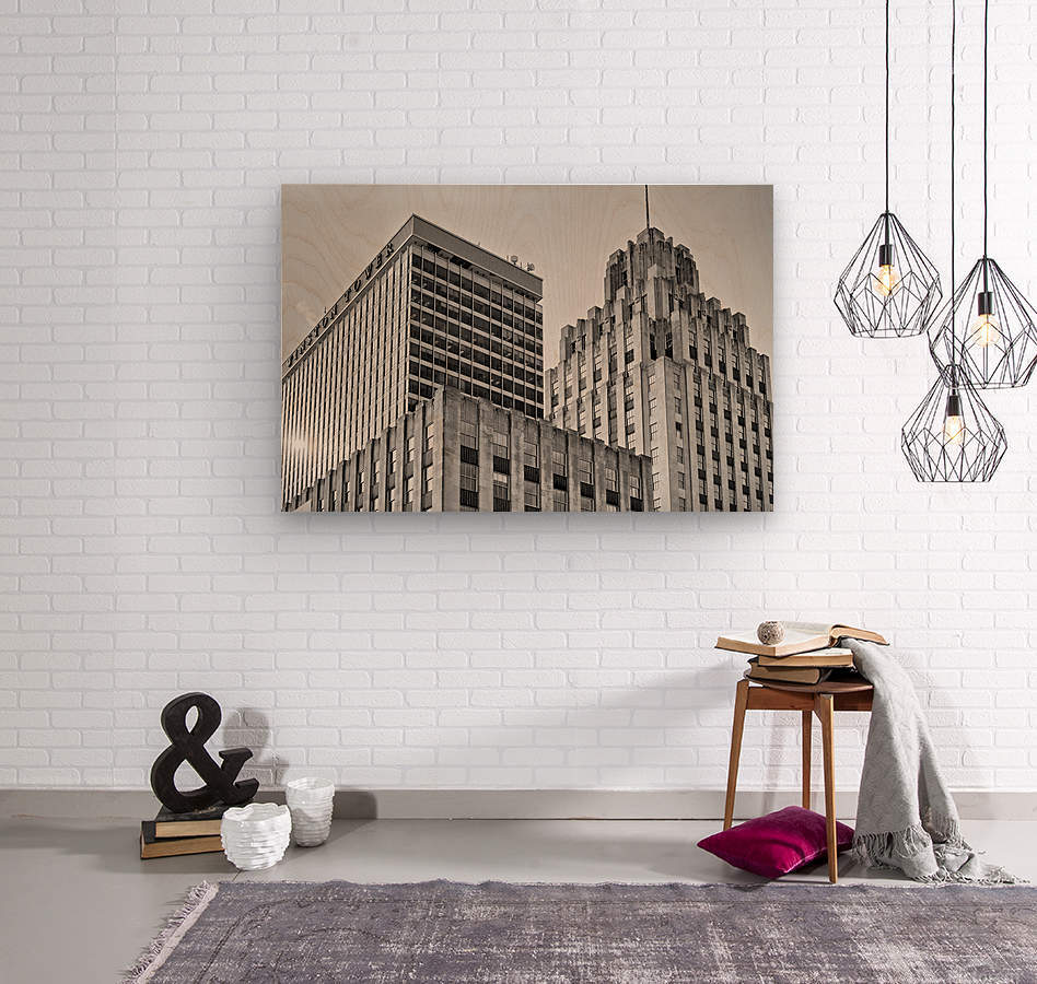 Winston Tower and Reynolds Building BW  Wood print