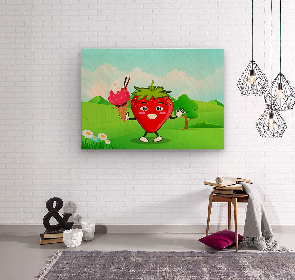 Strawberry Ice Cream_OSG  Wood print