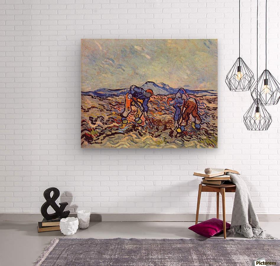 Farmers at work by Van Gogh  Wood print