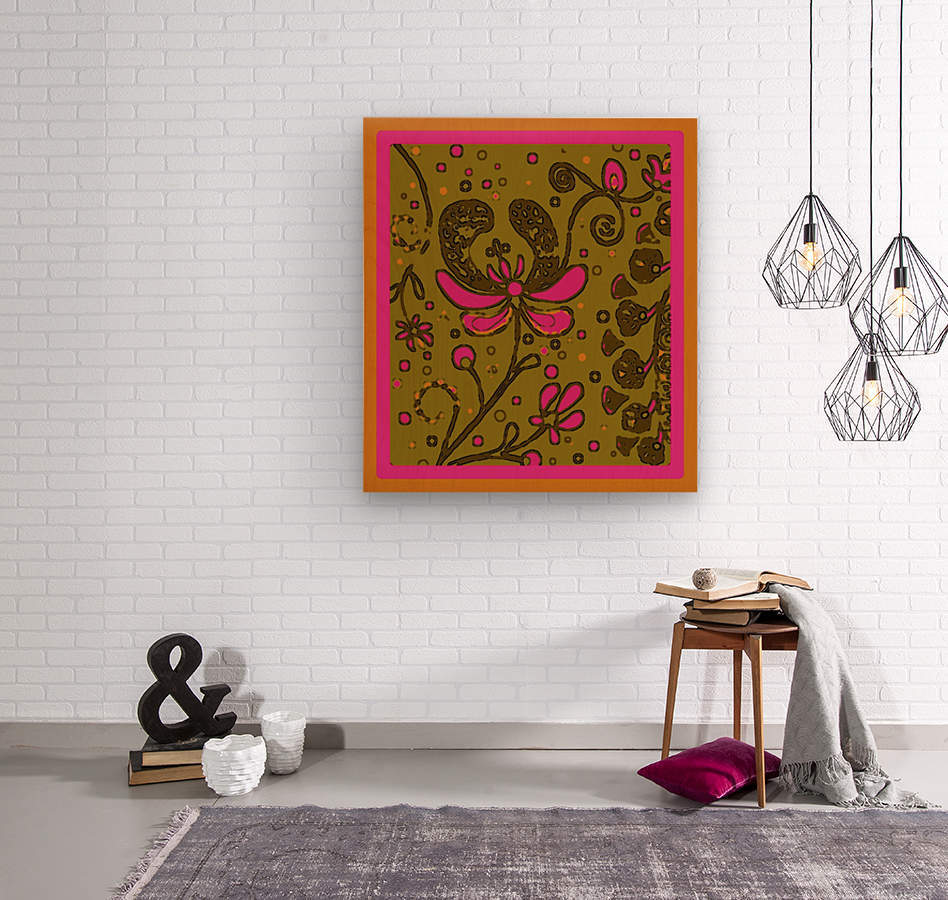 Day-glo Flower Abstract  Wood print