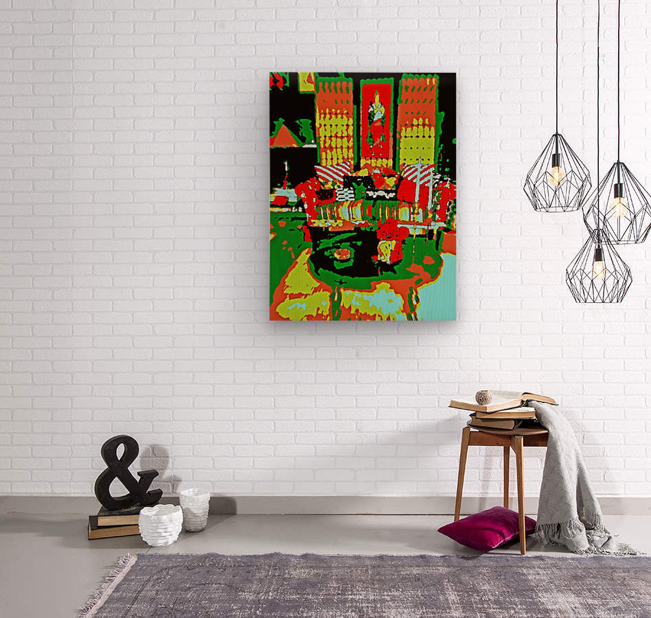 The Striped Sofa -- Red & Green  Wood print