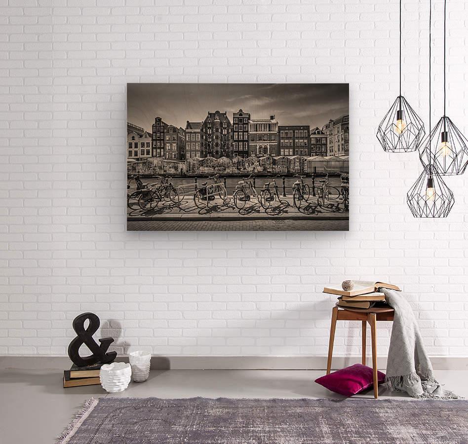 AMSTERDAM Singel Canal with Flower Market | monochrome  Wood print