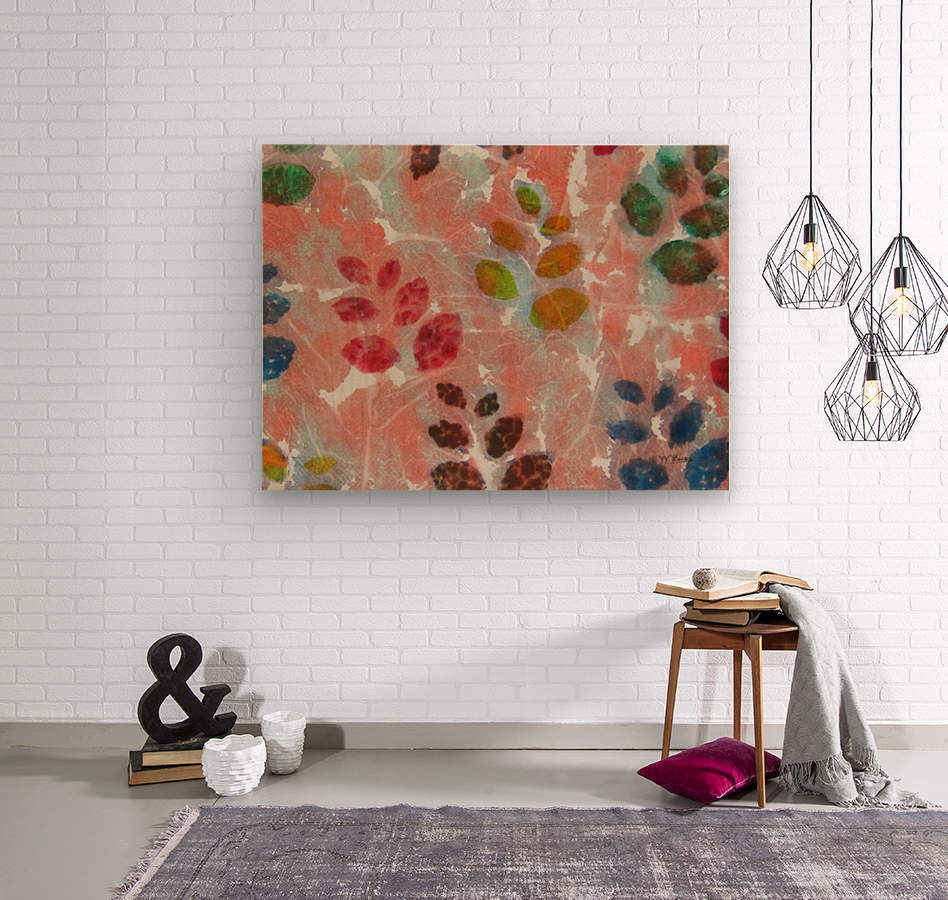 Abstract Fall Leaves  Wood print