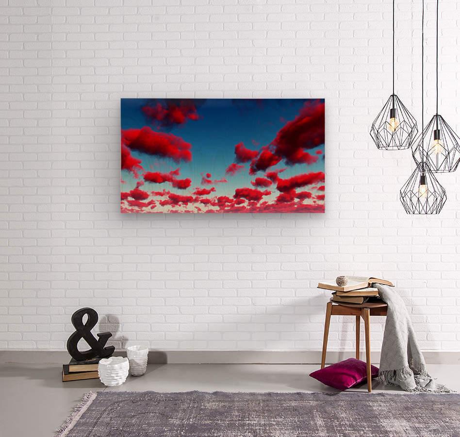 Deep Red Clouds  Wood print
