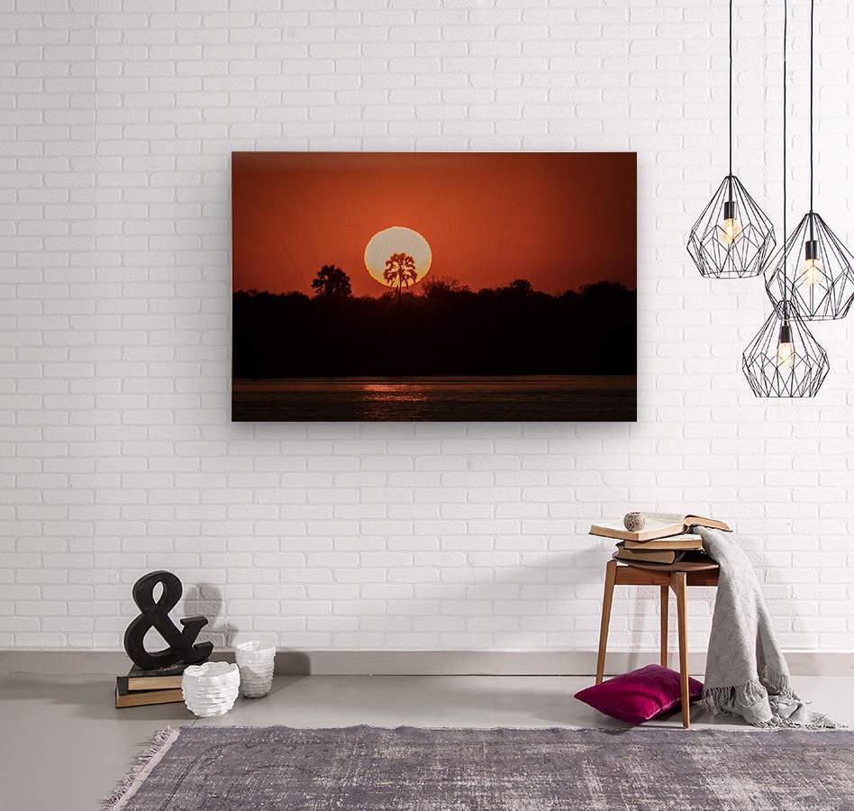 Sunset of Zimbabwe  Wood print