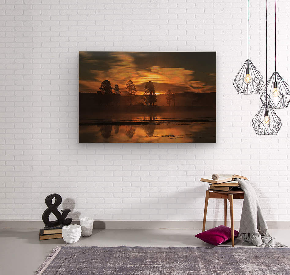 Northern Lights in Yellowstone  Wood print