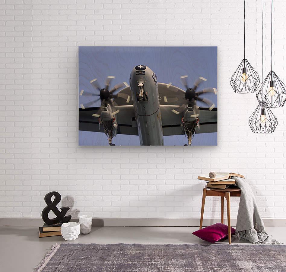 An E-2C Hawkeye prepares for landing.  Wood print