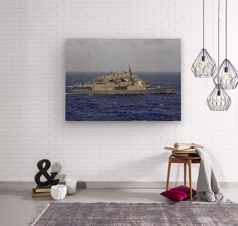 JDS Atago sails in formation with U.S. Navy and Japan Maritime Self Defense Force ships.  Wood print