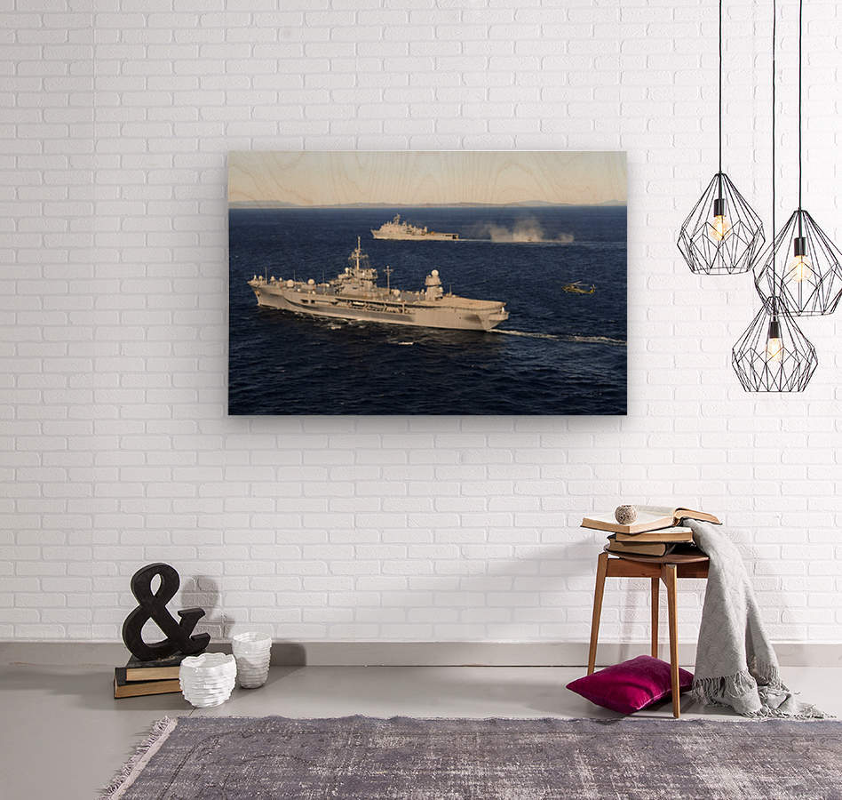 USS Blue Ridge conducts flight operations in the Coral Sea while underway with  USS Germantown.  Wood print