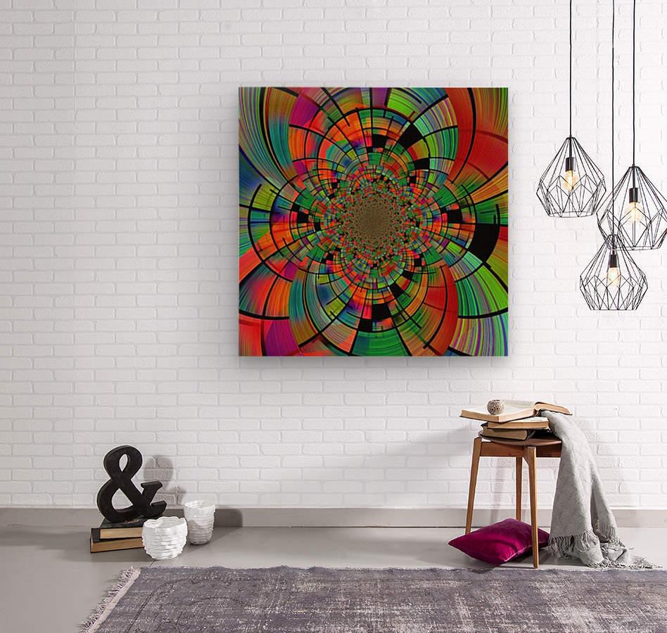 Colorful Geometric Fractal  Wood print