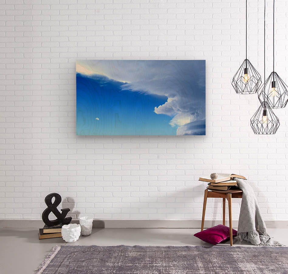 partly cloudy moon  Wood print