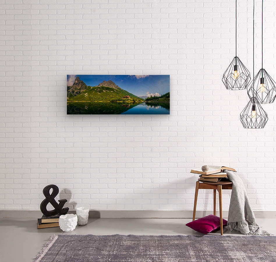 Mountain cottage at the Zelene pleso  Wood print