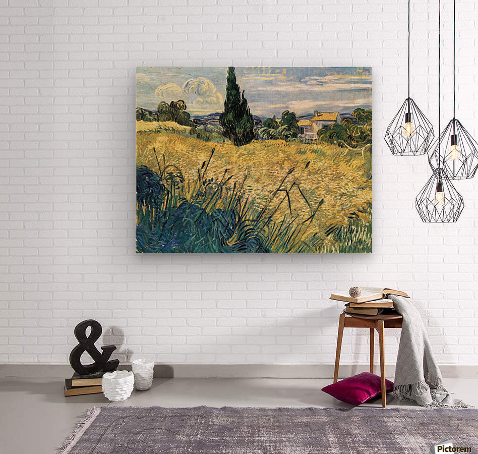 Green wheat field with cypress by Van Gogh  Wood print