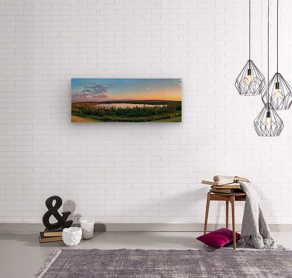 French Lake Sunset  Wood print