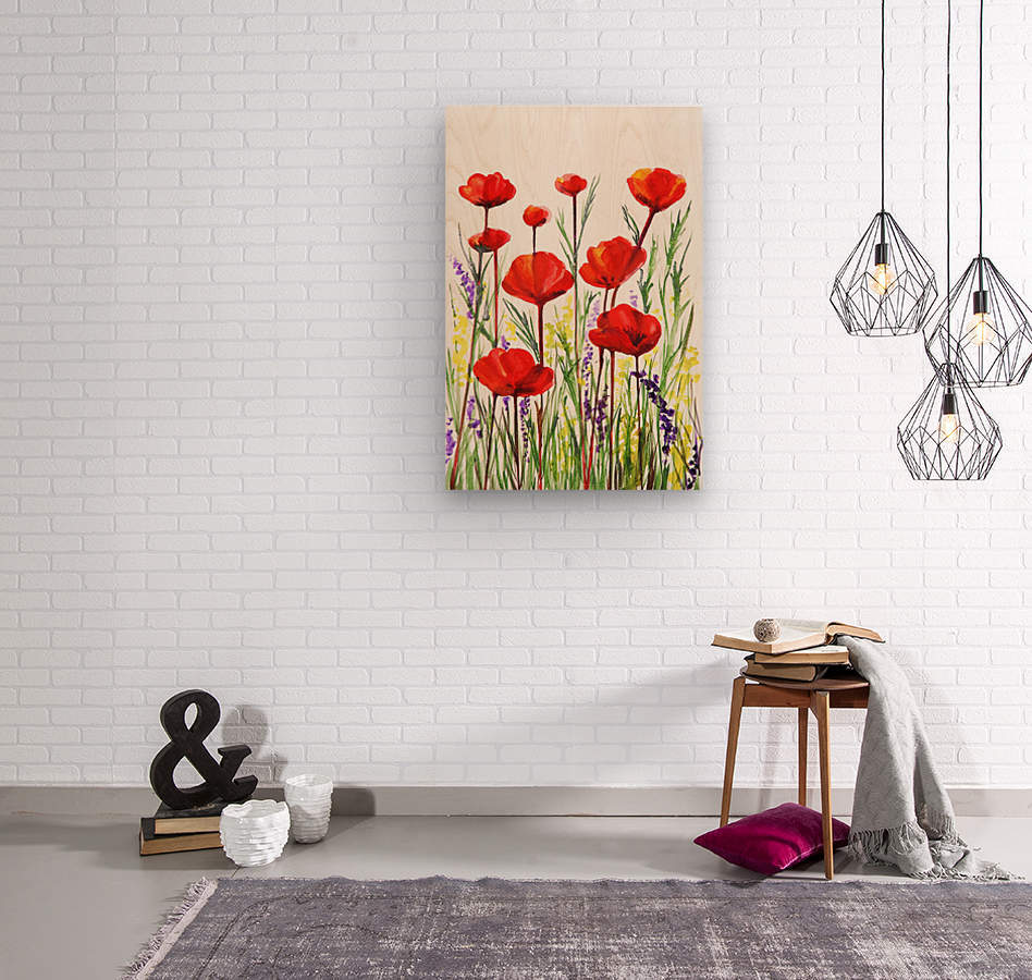 Red Poppies And Lavender Field Watercolor  Wood print