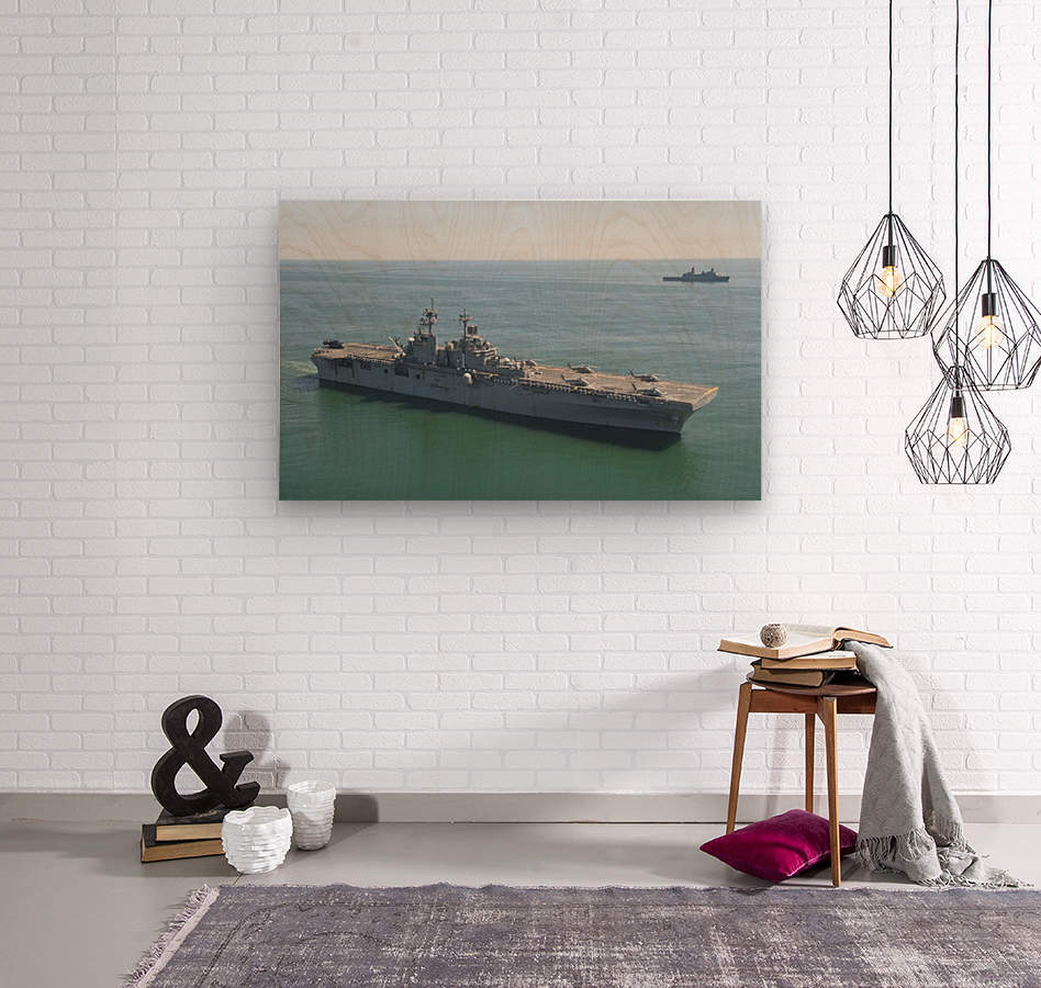 USS Wasp and USS San Antonio transit in formation in the Atlantic Ocean.  Wood print