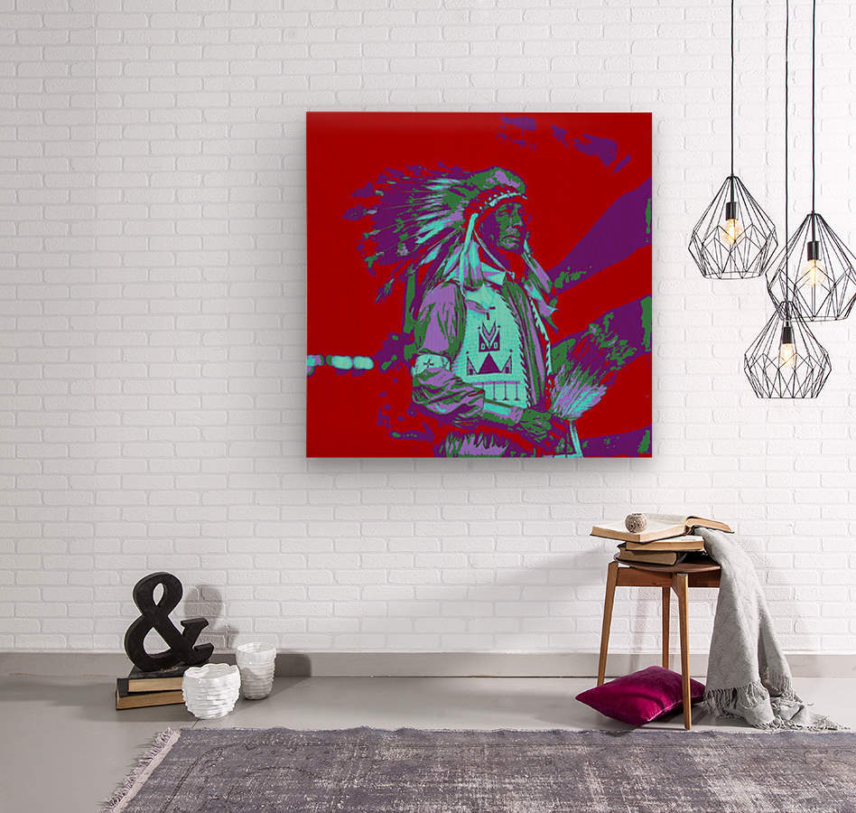 Indian Chief Pop Art  Wood print