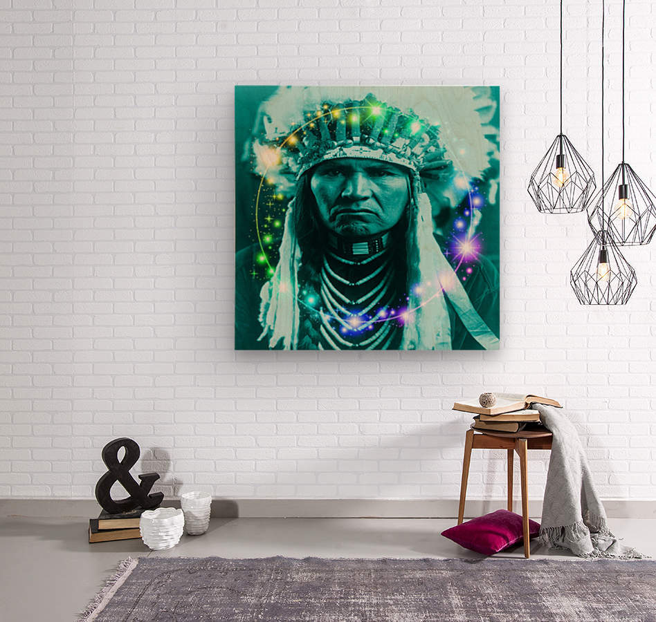 Magical Indian Chief  Wood print