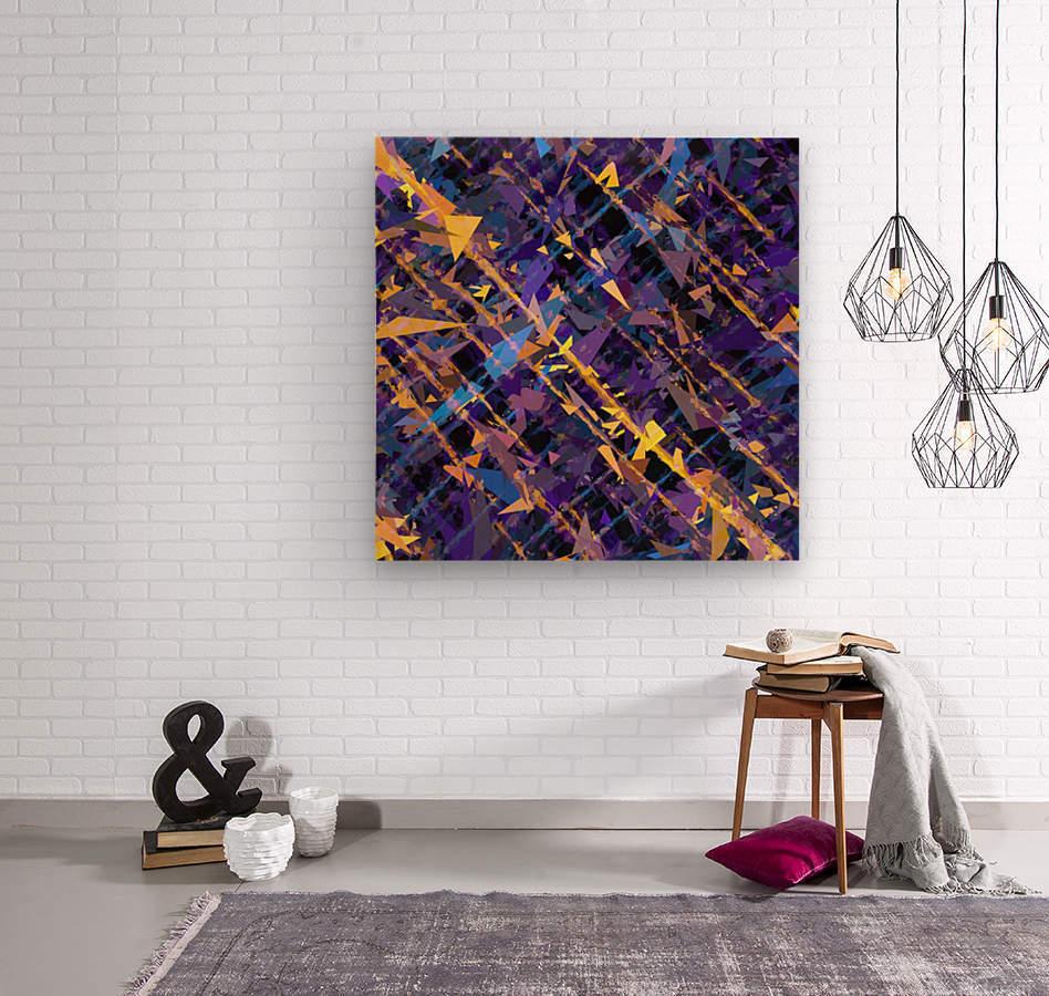 splash geometric triangle pattern abstract background in blue purple yellow  Wood print