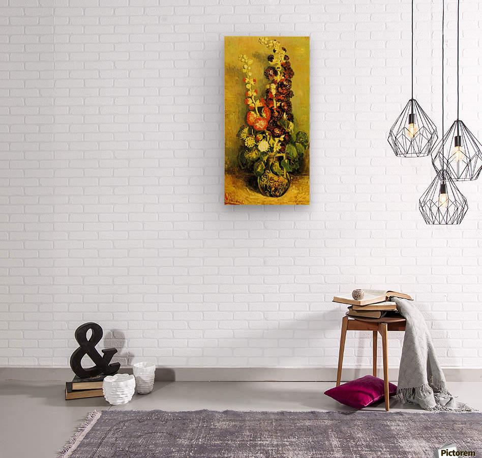 Hollyhocks by Van Gogh  Wood print