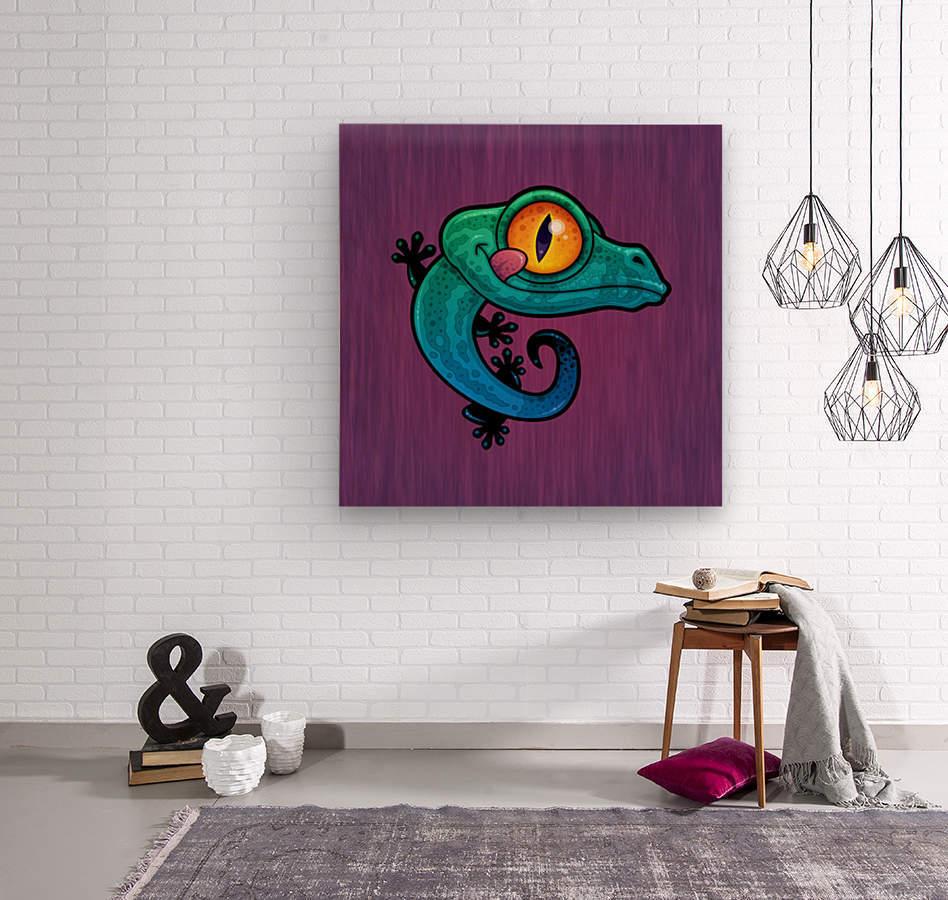 Cute Colorful Cartoon Gecko  Wood print