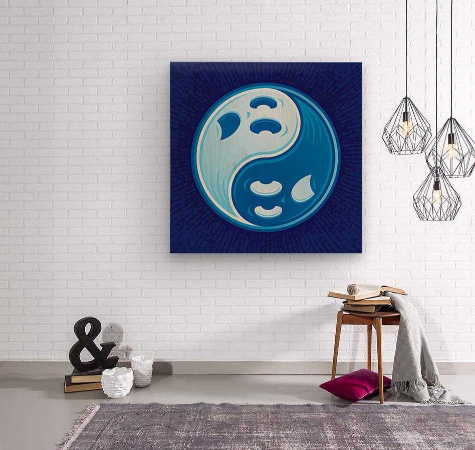 Ghost Yin Yang Symbol  Wood print