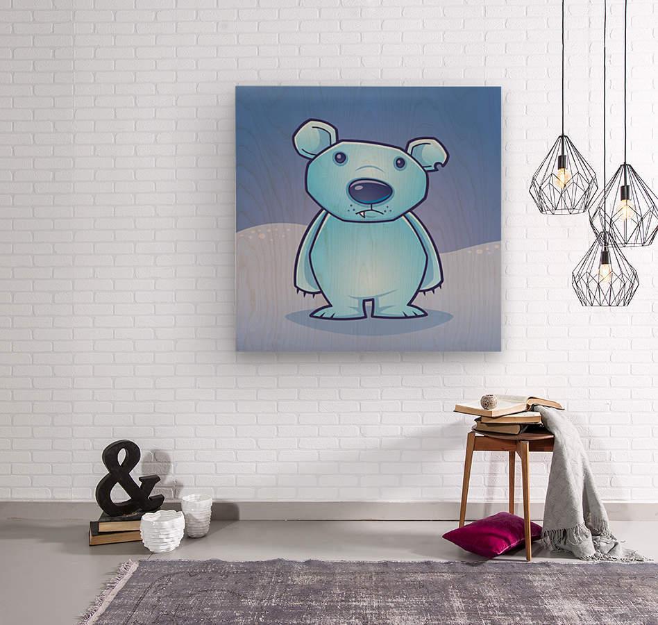 Polar Bear Cub  Wood print