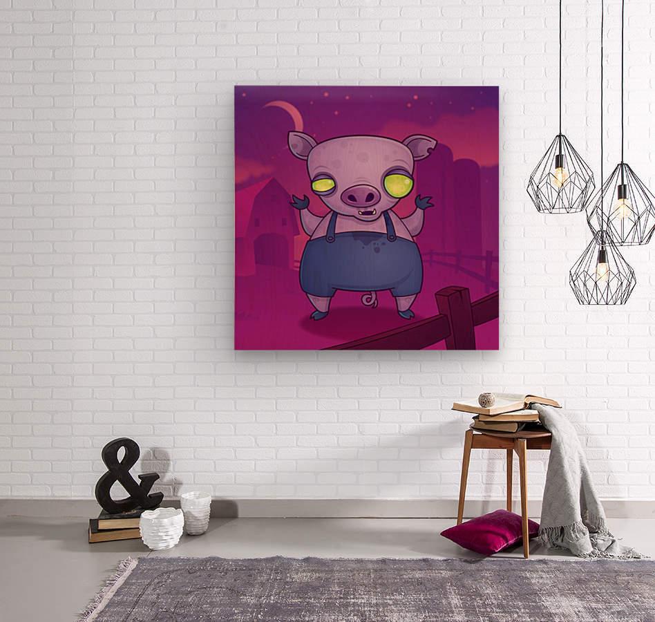 Zombie Pig  Wood print