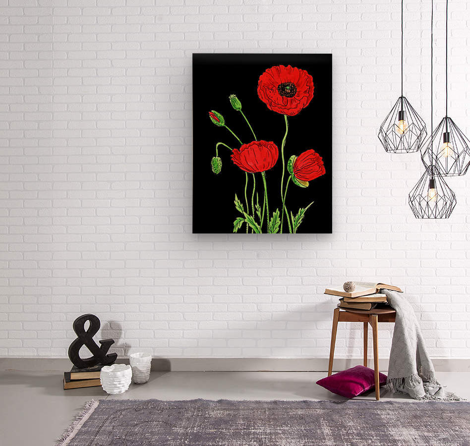 Red Poppy Flowers Watercolor  Wood print