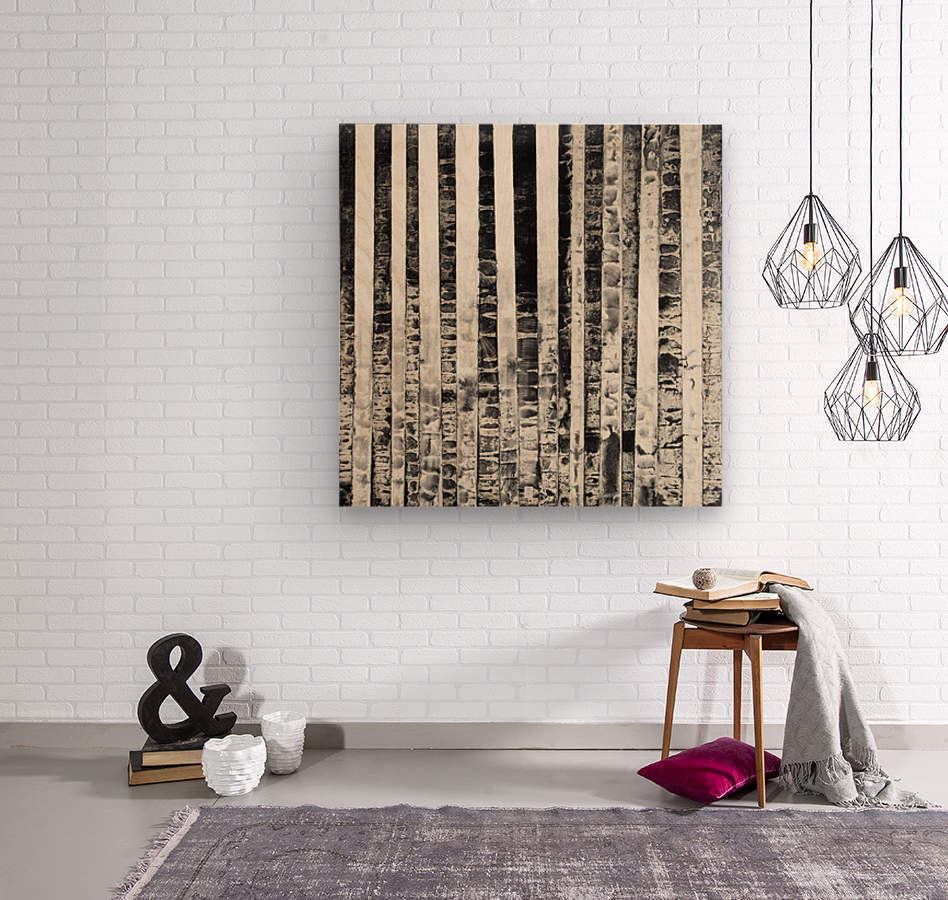 Juste la haie - Abstract Painting  Impression sur bois