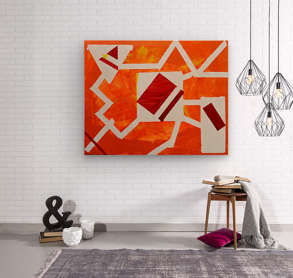 Geometric Orange. Jessica B  Wood print